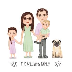 Egyedi családi portré, családi illusztráció, családi kép, aranyos családi illustráció, fali kép, karácsonyi ajándék, Otthon & Lakás, Festészet, Egyedileg, a megrendelő fényképének megfelelően készült családi illustráció, cartoon stílusban. A me..., Meska