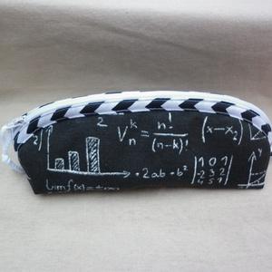 Egy kis matek - tolltartó, szemüvegtartó, Táska, Divat & Szépség, Táska, Neszesszer, Pénztárca, tok, tárca, Szemüvegtartó, Varrás, Fekete alapon egyenletek, képletek - egy kis matek. Lenvászon anyagból készítettem ezt a tolltartót,..., Meska