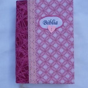 Bibliaborító - rózsaszín, virágos, Otthon & Lakás, Spiritualitás & Vallás, Varrás, Meska