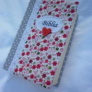 Bibliaborító - piros virágos, Otthon & Lakás, Spiritualitás & Vallás, Varrás, Meska