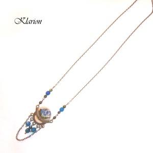 Kék achát köves virágos nyaklánc  (klarion) - Meska.hu