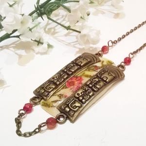 Vörös achát köves rózsás nyaklánc  (klarion) - Meska.hu
