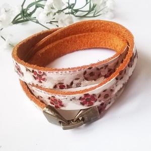 Rózsalugas egyedi festésű marhabőr karkötő (klarion) - Meska.hu