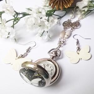 Lepkés tekla gyöngyös ezüst színű nyaklánc óra  (klarion) - Meska.hu
