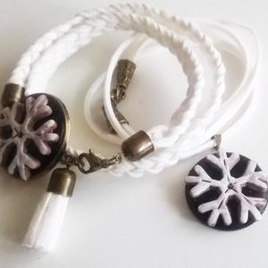 !!!AKCIÓ!!! Fekete-fehér nyaklánc, karkötő szett (klarion) - Meska.hu