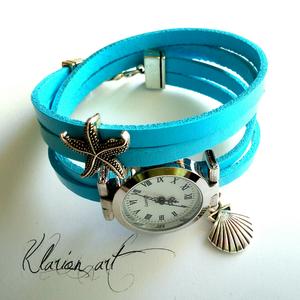 Kék bőr karkötő ezüst színű óralappal (klarion) - Meska.hu