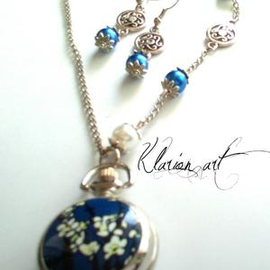 Japán cseresznyevirágzás ezüst színű nyaklánc óra  (klarion) - Meska.hu