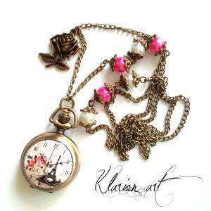 Párizs bronz színű nyaklánc óra  (klarion) - Meska.hu