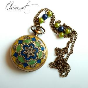 Kék-zöldr bronz színű nyaklánc óra  (klarion) - Meska.hu
