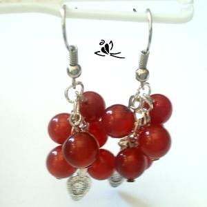 Ribizli vörös jade ásvány fülbevaló (klarion) - Meska.hu