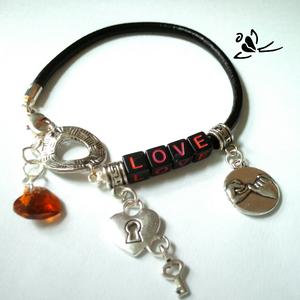 LOVE betűs, egyedi hengerbőr karkötő (klarion) - Meska.hu