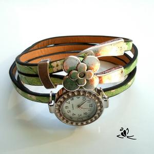 Zöld, virágos bőr karkötő ezüst színű óralappal,különleges csattal (klarion) - Meska.hu
