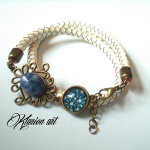 Fonott bőrr karkötô lapis lazuli ásvány kővel (klarion) - Meska.hu