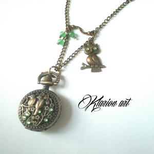 Madarak bronz színű nyaklánc óra  (klarion) - Meska.hu