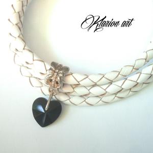 Fonott bőrr karkötô fekete kristály szívvel (klarion) - Meska.hu