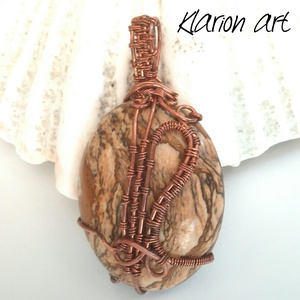 Kép jáspis ásvány és réz drót medál (klarion) - Meska.hu