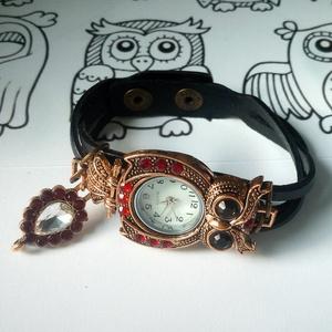 !!!AKCIÓ!!! Fekete bőr szíjas, bagoly formájú különleges óra (klarion) - Meska.hu