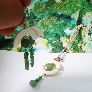 Japán gésa Fehér türkíz és zöld jade ásvány nyaklánc és fülbevaló (klarion) - Meska.hu