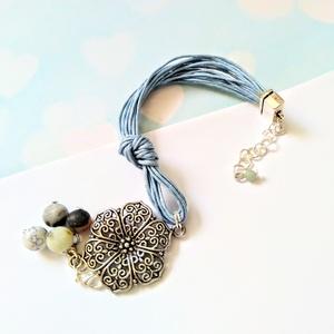 Kék zsineg karkötő, óriási virág  dísszel, amazont ásványgyöngyökkel (klarion) - Meska.hu