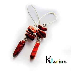 Vörös jáspis ásvány, ásványgyöngy fülbevaló, Ékszer, Esküvő, Medál, Fülbevaló, Ékszerkészítés, Gyöngyfűzés, gyöngyhímzés, Szabálytalan alakú és hosszúságú vörös jáspis ásványgyöngyök díszítik  ezt a különleges fülbevalót...., Meska