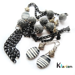 Zebra howlit, azaz türkinit ásvány kő nyaklánc és fülbevaló (klarion) - Meska.hu