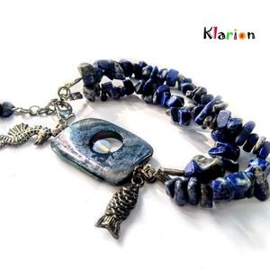 Lapis lazuli ásvány karkötő irizáló fényű szögletes kagylóval, opál ásványgyönggyel (klarion) - Meska.hu