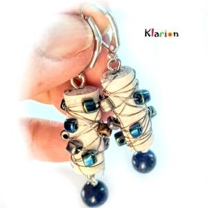 Valódi bőr, gyöngy, stresszoldó lapis lazuli ásványgyöngy fülbevaló (klarion) - Meska.hu