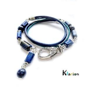 Lapis lazuli ásványgyöngy és hengerbőr karkötő (klarion) - Meska.hu