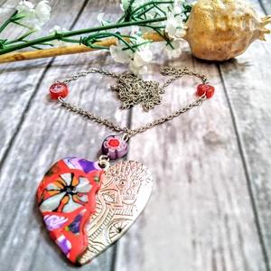 Színpompás szív nyaklánc Millefiori gyöngyökkel, Ékszer, Gyöngyös nyaklác, Nyaklánc, Ékszerkészítés, Gyöngyfűzés, gyöngyhímzés, Meska