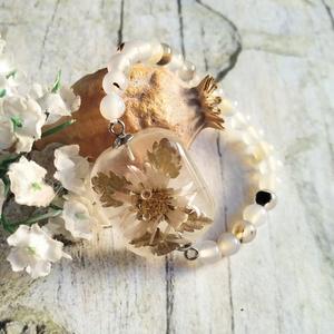 Örök tél nemesacél karkötő virágos jégkocka hatású medállal, sardonyx acháttal, Ékszer, Karkötő, Gyöngyös karkötő, Ékszerkészítés, Mindenmás, Meska