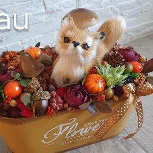 Őszi asztaldísz rókával, Asztaldísz, Dekoráció, Otthon & Lakás, Virágkötés, Az asztaldísz mérete kb. 20x20 cm. Egy terrakotta színű bádog kaspóba kerültek a különböző őszi term..., Meska