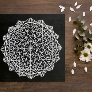 String Art Fehér Geometria 20x20cm, Otthon & lakás, Dekoráció, Kép, Lakberendezés, Falikép, Asztaldísz, Famegmunkálás, Fotó, grafika, rajz, illusztráció, String Art/Fonalgrafika technikával, minőségi alapanyagok felhasználásával készült, 20x20cm-es dekor..., Meska