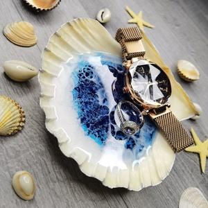 """Epoxy Gyanta kagyló ékszertartó, Ékszer, Ékszertartó, Ékszertartó edény, Festett tárgyak, Üvegművészet, Epoxy gyantával díszített, tenger effektet formáló valódi \""""Shell\"""" kagyló, mely tartós és tökéletesen..., Meska"""
