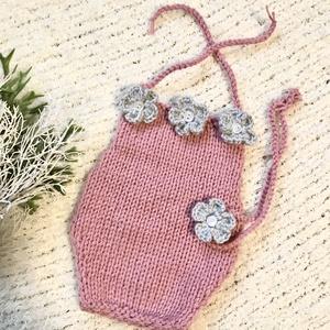 Újszülött babaszett, Babafotózási ruha és kellék, Babaruha & Gyerekruha, Ruha & Divat, Kötés, Rózsaszín-szürke  színű, 2 részes, babaszett fotózáshoz. \n0-2 hónapos korig, Meska
