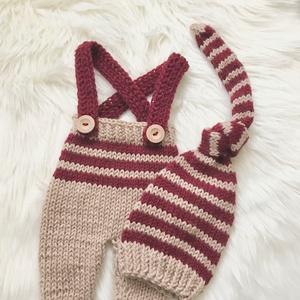 Drapp-bordó szett, Ruha & Divat, Babafotózási ruha és kellék, Babaruha & Gyerekruha, Újszülött  kézzel kötött nadrág sapkával babafotózáshoz.  0-2 hónapos méret  , Meska