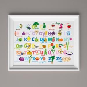 Étel ABC gyerekeknek,színes falikép,dekoráció A-tól Z-ig, Kép & Falikép, Dekoráció, Otthon & Lakás, Fotó, grafika, rajz, illusztráció, A3-as (297mm x 420mm) méretben kreatív kartonra nyomtatva. KERET NÉLKÜL\n\nMagyar ABC betűit használva..., Meska
