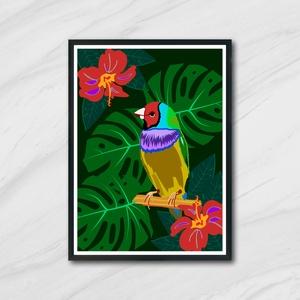 Dzsungel madár,falikép,dekor,ajándék, Gyerek & játék, Gyerekszoba, Baba falikép, Otthon & lakás, Fotó, grafika, rajz, illusztráció, Egyedi, saját tervezésű nyomat. \n\nAz ár 1db képre vonatkozik, a keretet NEM tartalmazza. \n\nA kép mér..., Meska