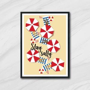Stay salty Poszter, homokos tengerparton, Lakberendezés, Otthon & lakás, Falikép, Képzőművészet, Illusztráció, Fotó, grafika, rajz, illusztráció, Nyár ihlette vidám poszter.\nA felitatok kérésre változtathatóak.\n\nAz ár 1 db képre vonatkozik, a ker..., Meska