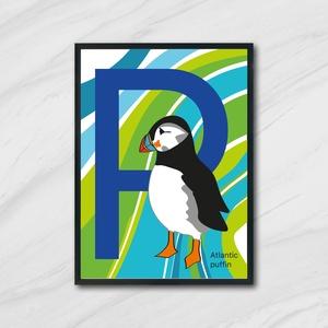 Lunda, Angol poszter, Gyerek & játék, Gyerekszoba, Baba falikép, Otthon & lakás, Fotó, grafika, rajz, illusztráció, Lunda madár poszter, angol megfelelője:\nPuffin.\n\nAz ár 1 db képre vonatkozik, a keretet NEM tartalma..., Meska