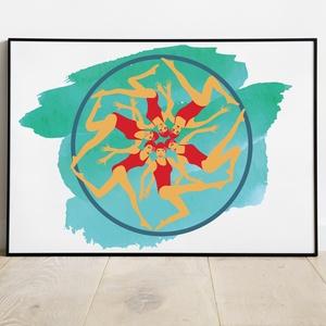 Szinkronúszók, Dekoráció, Otthon & lakás, Kép, Képzőművészet, Illusztráció, Fotó, grafika, rajz, illusztráció, Egyedi, saját tervezésű nyomat. \n\nAz ár 1db képre vonatkozik, a keretet NEM tartalmazza. \n\nA kép mér..., Meska