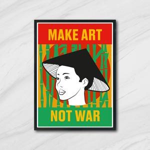 """Vietnám Poszter, \""""Make art not war\"""", Képzőművészet, Otthon & lakás, Grafika, Illusztráció, Fotó, grafika, rajz, illusztráció, Vietnámi háború ihlette poszter.\n\nAz ár 1 db képre vonatkozik, a keretet NEM tartalmazza. \n\nA kép mé..., Meska"""