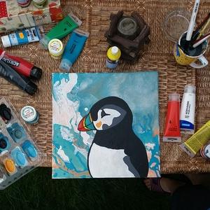 Izlandi lunda portré , Képzőművészet, Otthon & lakás, Festmény, Akril, Napi festmény, kép, Festészet, Fotó, grafika, rajz, illusztráció, Fluid festesi technikával készült, vászonra, akril festékkel.A kép egy izlandi madarat a lundát ábrá..., Meska