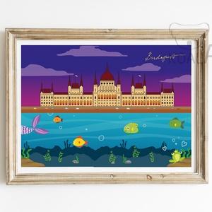 Parlament,szuvenír,ajándék,falikép,egyedi ajándék, Kép & Falikép, Dekoráció, Otthon & Lakás, Fotó, grafika, rajz, illusztráció, Duna halakkal, háttérben a Parlament\n\nGyerekszoba fali dekoráció, \nfalikép A4-es méretben (210mm x 2..., Meska