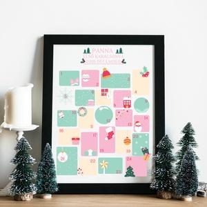 Baba első karácsonya, Karácsonyi dekoráció, Karácsony & Mikulás, Otthon & Lakás, Fotó, grafika, rajz, illusztráció, Ez az adventi naptár December 24 napjára ad egy-egy kis mezőt amibe be lehet írni, hogy az első közö..., Meska