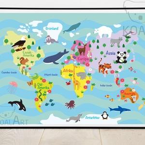 Világtérkép gyerekeknek,falikép,színes,vidám, Gyerek & játék, Gyerekszoba, Baba falikép, Otthon & lakás, Képzőművészet, Illusztráció, Fotó, grafika, rajz, illusztráció, Egyedi, saját tervezésű nyomat. \n\nA3-as (297mm x 420mm) méretben  vagy A2-es (420mm x 594 mm)kreatív..., Meska