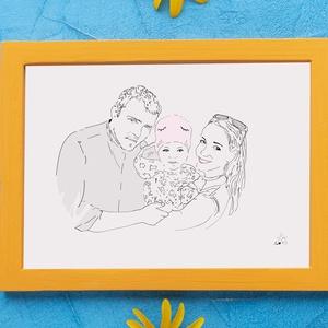 Családi portré grafika, személyre szóló családi illusztráció, egyedi családi grafika személyre szabva, Portré, Portré & Karikatúra, Művészet, Fotó, grafika, rajz, illusztráció, Sokféle portrét készítettem míg végre rátaláltam a stílusomra. A képen látható vonalrajz az ami neke..., Meska