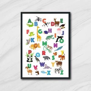 Angol állatos ABC, Betű & Név, Dekoráció, Otthon & Lakás, Fotó, grafika, rajz, illusztráció, A3-as (297mm x 420mm) méretben kreatív kartonra nyomtatva. KERET NÉLKÜL\n\nANGOL ABC betűit használva,..., Meska