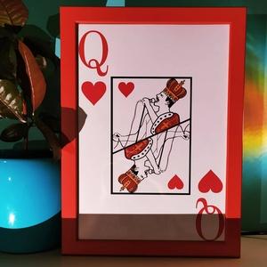 Queen Kártya Freddie Mercuryval, Otthon & lakás, Képzőművészet, Illusztráció, Fotó, grafika, rajz, illusztráció, Egyedi, saját tervezésű nyomat. \nFreddie Mercury mint királynő kártya. \n\nKeret nélkül!, Meska