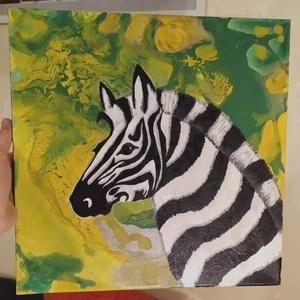 Zebra festmény, Otthon & lakás, Képzőművészet, Festmény, Akril, Festészet, Fluid festesi technikával (is) készült, vászonra, akril festékkel.Zebra portré\n\nA kép mérete 33x33cm..., Meska