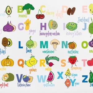 Angol Gyümölcs és Zöldség ABC, Otthon & Lakás, Dekoráció, Falra akasztható dekor, Fotó, grafika, rajz, illusztráció, A3-as (297mm x 420mm) méretben kreatív kartonra nyomtatva, fekete kerettel. (plexi üveggel)\n\nANGOL A..., Meska